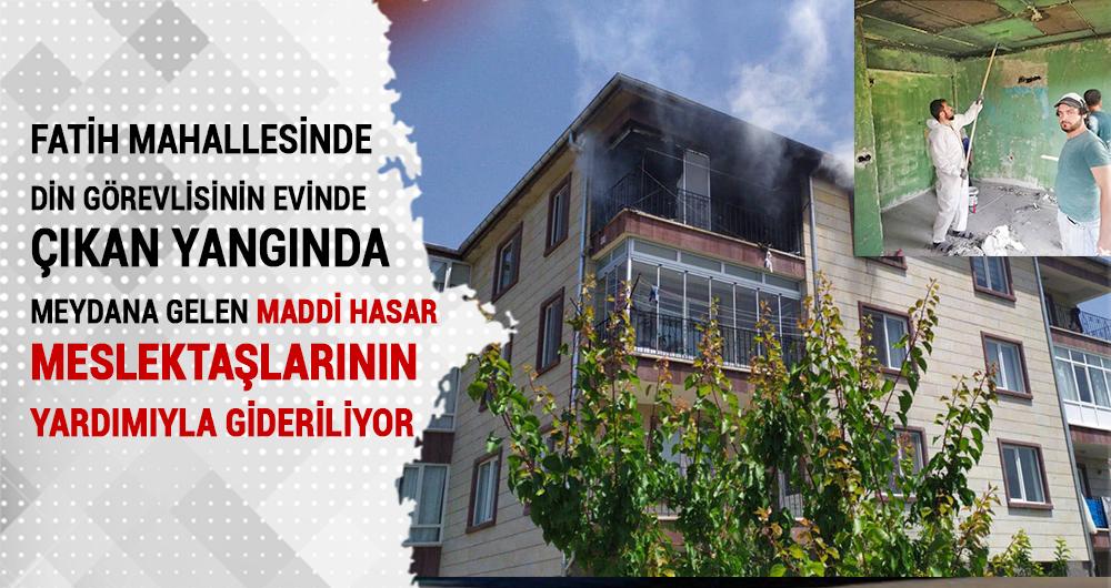 Evi yanan din görevlisinin evini meslektaşları yeniden düzenleniyor