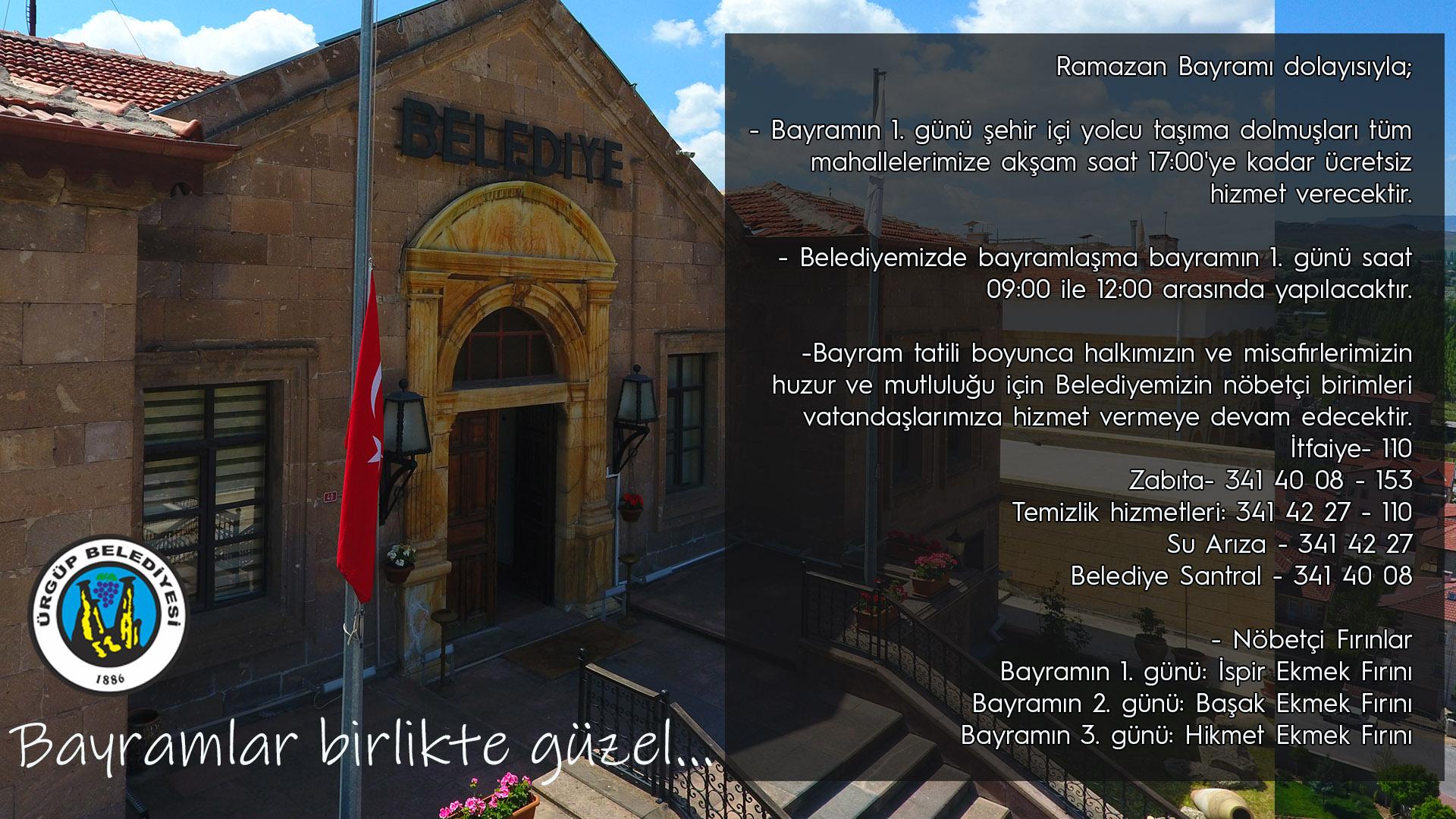 Ürgüp'te Ramazan Bayramının 1. günü dolmuşlar ücretsiz