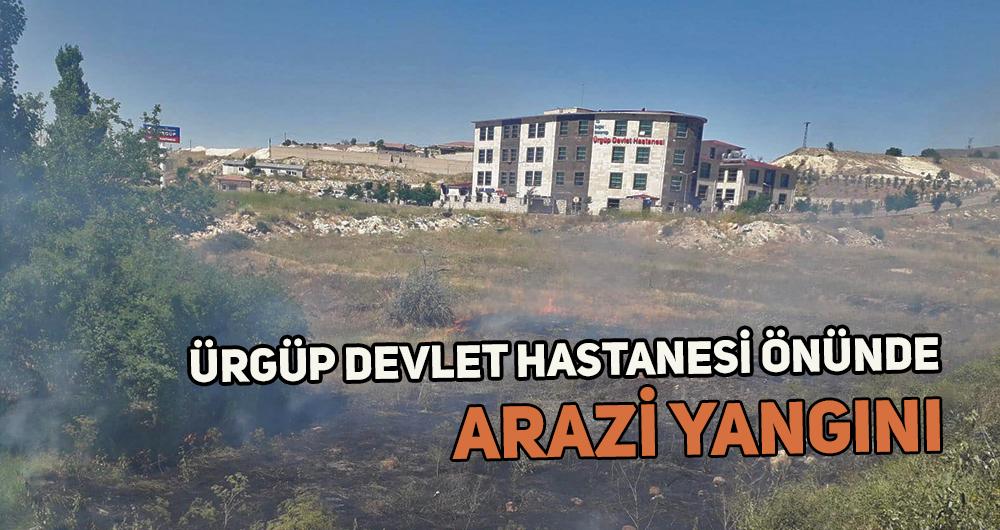 Hastane önünde arazi yangını