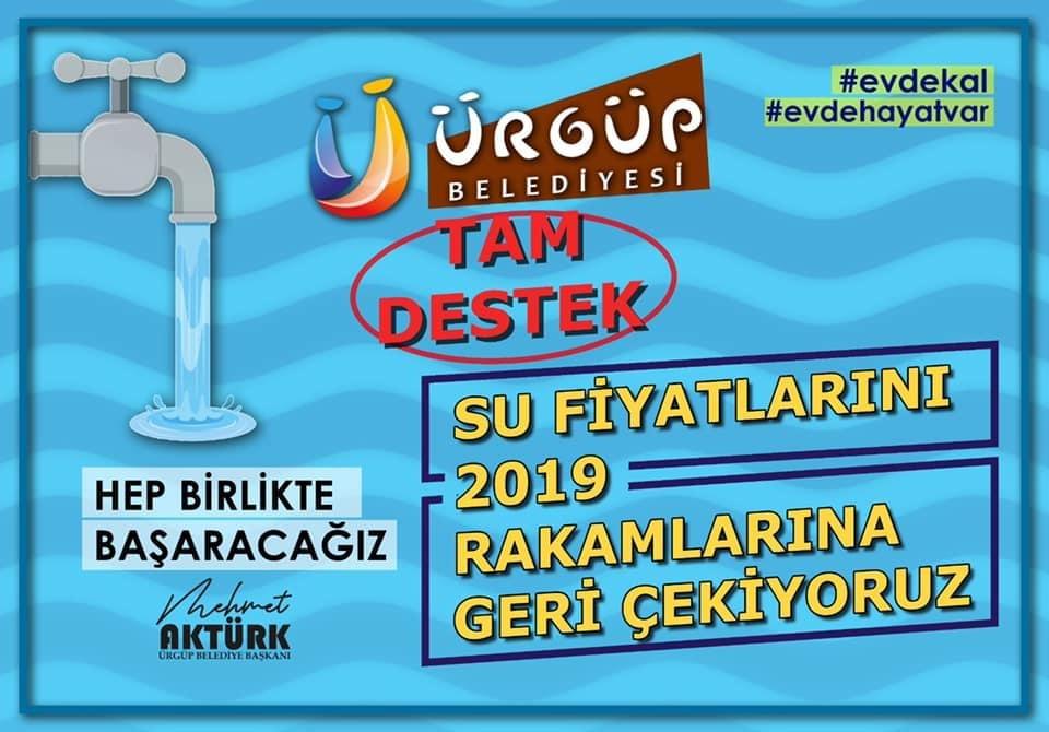 Ürgüp'te su fiyatları 2019 rakamlarına çekildi